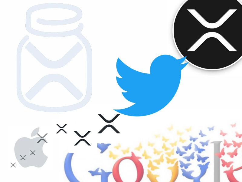 XRP Tip Bot とTwitter、Google、Appleとの連携をイメージした画像