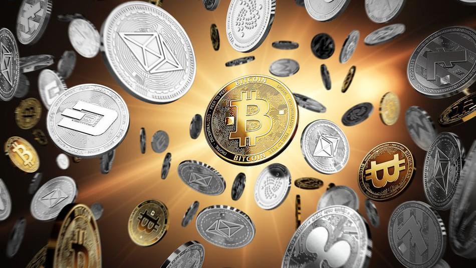 色んな種類の仮想通貨が舞う画像