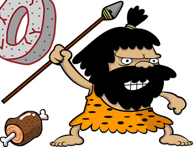 原始人が石のお金とお肉を背に槍を振り上げているイラスト