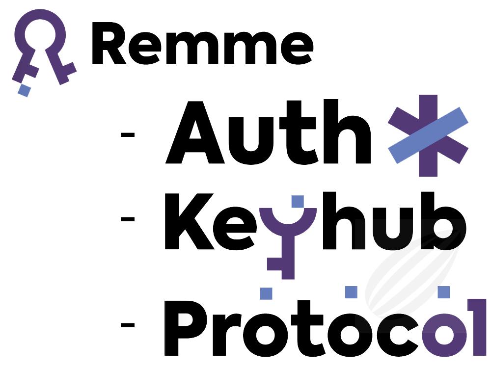 Remmeプロジェクトの3本柱が『Auth』『Keyhub』『Protocol』だということを表すイメージ画像