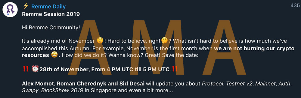 2019年11月29日に行われた、REMMEによるAMAの告知画面キャプチャ(デザイン加えてます)